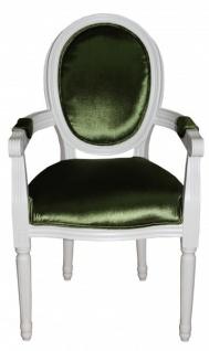 Casa Padrino Barock Esszimmer Stuhl mit Armlehne Grün / Weiß - Designer Stuhl - Luxus Qualität GH