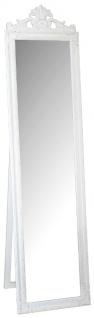Casa Padrino Barock Standspiegel Weiss mit wunderschönen Barockrahmen und Ornamentaufsatz H. 180 cm - Handgefertigt