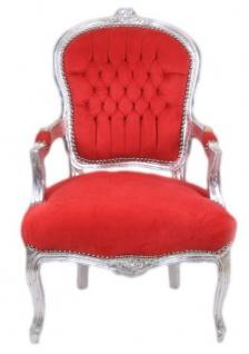 Casa Padrino Barock Salon Stuhl Rot / Silber - Antik Design Möbel