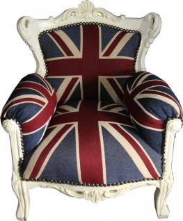 Casa Padrino Barock Kinder Sessel Union Jack / Creme - Thron England Englische Flagge Tron