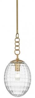 Casa Padrino Luxus Hängeleuchte Antik Messing Ø 21, 6 x H. 55, 9 cm - Pendelleuchte mit eiförmigen Glas Lampenschirm - Wohnzimmer Lampe