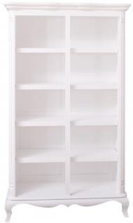 Casa Padrino Landhausstil Bücherschrank Weiß 112 x 49 x H. 190 cm - Massivholz Regalschrank - Wohnzimmerschrank - Büroschrank