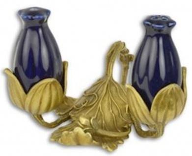 Casa Padrino Jugendstil Porzellan Salz & Pfefferstreuer Set mit Ständer Dunkelblau / Gold 11, 7 x 11, 4 x H. 8, 8 cm - Hotel & Restaurant Accessoires