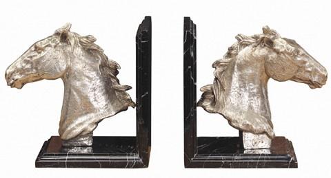 Casa Padrino Luxus Bücherstützen Pferdeköpfe aus Bronze auf Marmorsockel - Bücherstütze - Book End Pferdekopf Horse Head