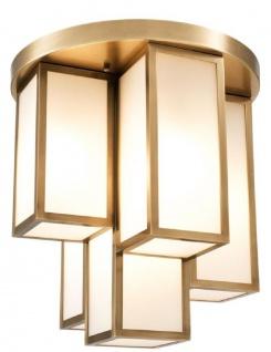Casa Padrino Luxus Deckenleuchte Antik Messingfarben / Weiß Ø 50 x H. 53, 5 cm - Luxus Qualität - Vorschau 2