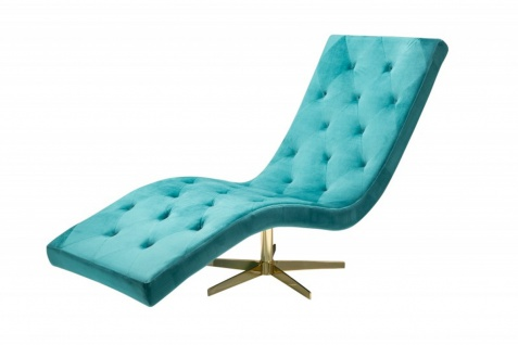 Casa Padrino Designer Liege Relax Sessel Türkis/ Gold