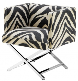Casa Padrino Luxus Club Sessel im Zebra Design 68 x 57 x H. 74 cm - Art Deco Möbel