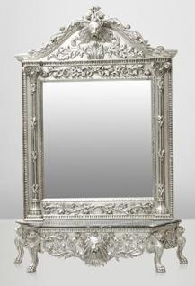 Casa Padrino Luxus Barock Spiegelkonsole Silber Lion - Luxus Wohnzimmer Möbel Konsole mit Spiegel Löwenkopf