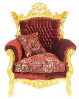 Casa Padrino Barock Wohnzimmer Set Master Bordeaux Muster Samtstoff / Gold - 2er Sofa + 2 Sessel - Limited Edition! - Vorschau 3
