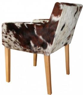 Casa Padrino Designer Esszimmer Stuhl mit Armlehnen ModEF 35 Kuhfell - Hotelmöbel - Buche - Echtes Fell - Vorschau 2