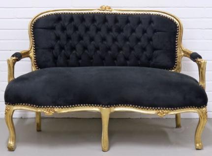 Casa Padrino Barock Kinder Sitzbank Schwarz / Gold 90 x 38 x H. 67 cm - Antik Stil Kindermöbel