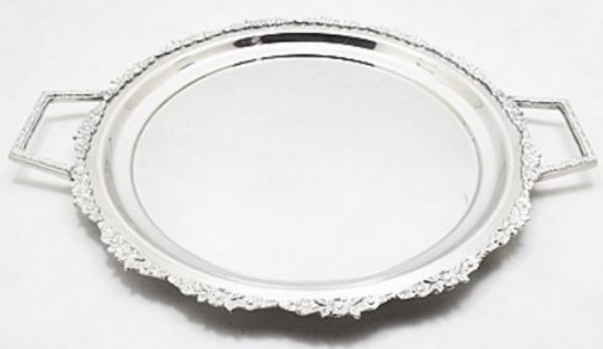 Casa Padrino Luxus Serviertablett Silber 48 x 39 x H. 3 cm - Luxus Messing Tablett mit 2 Tragegriffen