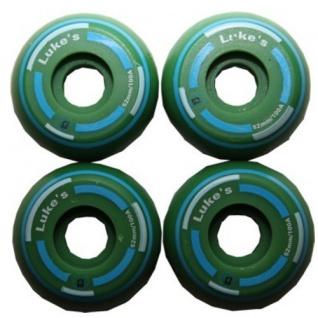 Luke´s Skateboard Profi Wheel Set Green Green 52mm / 100A Super Small (1 Set = 4 Rollen) - Super schmale Rollen - ideal für Street Skateboarding