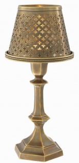 Casa Padrino Luxus Messing Teelichthalter mit Lampenschirm Vintage Messingfarben Ø 16 x H. 36 cm - Deko Accessoires