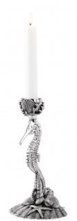 Casa Padrino Designer Kerzenständer Seepferdchen & Muscheln Antik Silber 15 x 12, 5 x H. 26, 5 cm - Luxus Messing Kerzenhalter - Vorschau 2