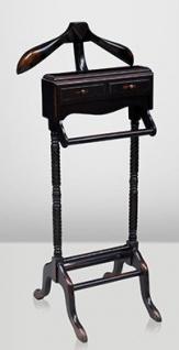 Casa Padrino Designer Luxus Garderoben Ständer aus Massivholz Antik Stil Schwarz / Braun - Dressboy - Kleiderständer Anzugständer