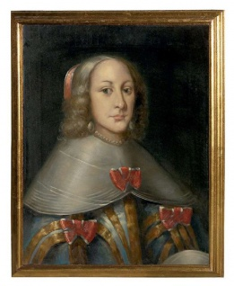 Casa Padrino Luxus Barock Ölgemälde Gräfin Mehrfarbig / Gold 55 x H. 65 cm - Handgemaltes Gemälde im Barockstil - Barock Wand Deko