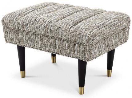 Casa Padrino Luxus Sitzbank Beige / Schwarz / Messingfarben 68 x 50 x H. 45 cm - Gepolsterte Massivholz Bank - Wohnzimmer Möbel - Hotel Möbel - Luxus Kollektion