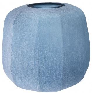Casa Padrino Luxus Deko Glas Vase Blau Ø 33 x H. 32 cm - Mundgeblasene Blumenvase - Luxus Deko Accessoires