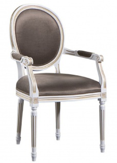 Casa Padrino Luxus Barock Esszimmer Set Weiß / Gold / Grau 59 x 43, 5 x H. 98 cm - 6 Esszimmerstühle mit Armlehnen - Esszimmermöbel - Vorschau 2