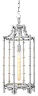 Casa Padrino Designer Hängeleuchte / Laterne Silber 30, 5 x H. 69, 5 cm - Luxus Hängelampe
