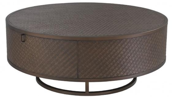 Casa Padrino Luxus Couchtisch Bronze Ø 100 x H. 40, 5 cm - Runder Wohnzimmertisch mit 2 Schubladen - Luxus Wohnzimmermöbel