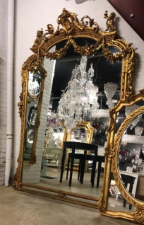 Riesiger Casa Padrino Barock Spiegel Gold 220 x 160 cm mit Engelsmotiven - Antik Stil - Schwere prunkvolle Ausführung