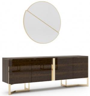 Casa Padrino Luxus Wohnzimmer Set Braun / Gold - 1 Sideboard & 1 Wandspiegel - Wohnzimmer Schrank mit Spiegel - Wohnzimmer Möbel - Luxus Qualität