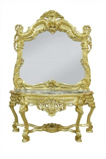 Casa Padrino Barock Spiegelkonsole mit Marmorplatte Gold Schwarz - Edel & Prunkvoll