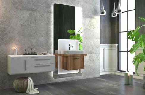 Casa Padrino Luxus Badezimmer Set Braun / Weiß - 1 Waschtisch und 1 Waschbecken und 1 LED Wandspiegel und 1 Hängeschrank - Luxus Badezimmermöbel - Vorschau 2