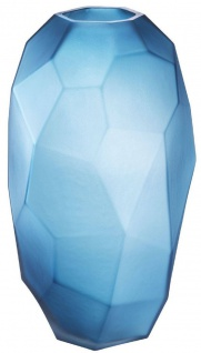 Casa Padrino Luxus Deko Glas Vase Mattblau Ø 20 x H. 35, 5 cm - Mundgeblasene Blumenvase - Luxus Deko Accessoires