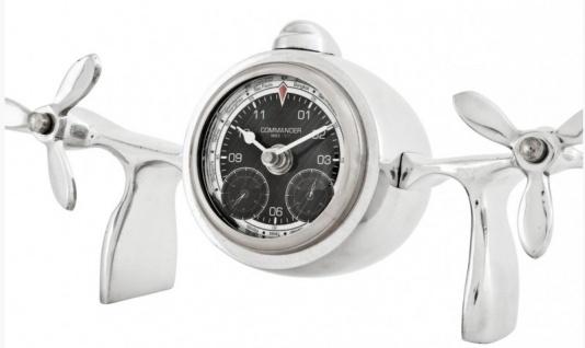 Casa Padrino Designer Luxus Tischuhr aus Aluminium Silberfarben - Edel & Prunkvoll - Tisch Uhr - Vorschau 3