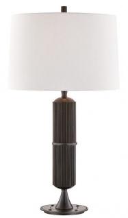 Casa Padrino Luxus Tischleuchte Bronze / Weiß Ø 38 x H. 71 cm - Tischlampe mit rundem Leinen Lampenschirm