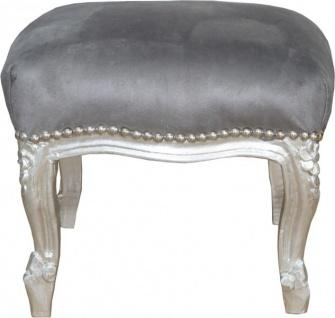Casa Padrino Barock Fußhocker Grau / Silber - Antik Stil Möbel - Hocker
