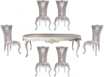 Casa Padrino Luxus Barock Esszimmer Set Lila / Beige / Weiß / Gold - 1 Ovaler Esstisch & 6 Esszimmerstühle mit elegantem Muster - Barock Esszimmer Möbel - Edel & Prunkvoll