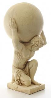 Casa Padrino Deko Skulptur Atlas trägt Weltkugel Beige 34 x 38, 3 x H. 68, 6 cm - Kunstharz Figur - Deko Figur