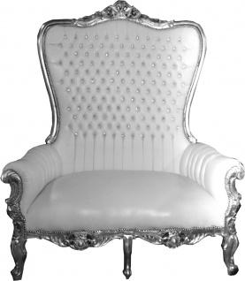 Casa Padrino Barock Doppel Thron Sessel Majestic Weiß / Silber mit Bling Bling Glitzersteinen - Riesensessel - Thron Stuhl Tron Sofa