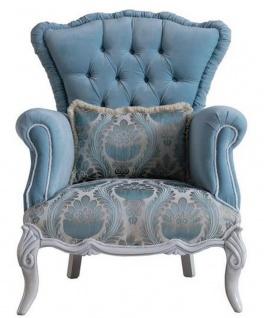 Casa Padrino Luxus Barock Wohnzimmer Sessel mit dekorativem Kissen Hellblau / Grau 85 x 87 x H. 108 cm - Barock Möbel - Edel & Prunkvoll