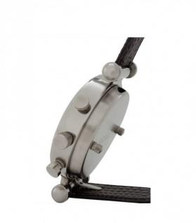Casa Padrino Designer Luxus Uhr Nickel finish mit braunem Leder 10 x H. 18 cm - Luxus Qualität - Vorschau 2