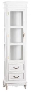 Casa Padrino Landhausstil Vitrine Antik Weiß 45 x 30 x H. 170 cm - Handgefertigte Shabby Chic Vitrine mit Tür und 2 Schubladen