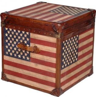 Casa Padrino Luxus Truhe Stars & Stripes Braun / Mehrfarbig 49 x 44 x H. 57 cm - Handgefertigte Echtleder Truhe im Kofferlook