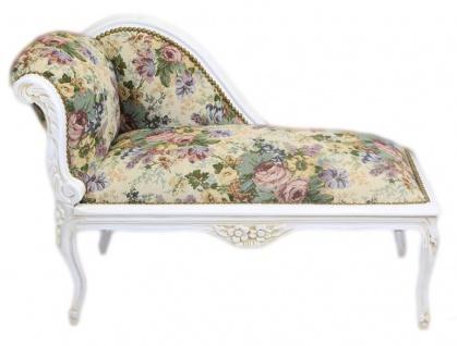 Casa Padrino Barock Kinder Chaiselongue Blumen Muster / Antik Weiss - Recamiere Barock Möbel Kindersofa