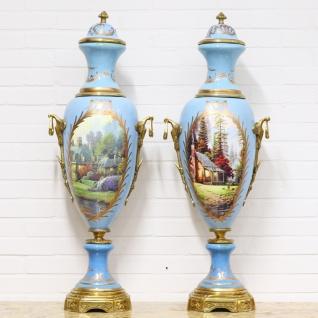 Casa Padrino Deko Vasen Hellblau / Gold 30 x H. 100 cm - Barockstil Porzellan Vasen Set
