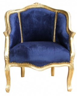 Casa Padrino Barock Damen Antik Stil Salon Sessel Royalblau / Gold - Luxus Barock Wohnzimmermöbel