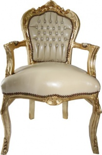 Casa Padrino Barock Esszimmer Stuhl mit Armlehnen Creme Lederoptik / Gold - Möbel