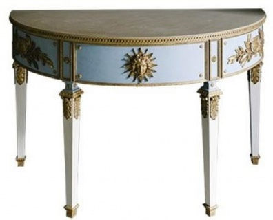 Casa Padrino Luxus Barock Konsole Blau / Weiß / Gold 150 x 75 x H. 91 cm - Handgefertigter Halbrunder Antik Stil Konsolentisch