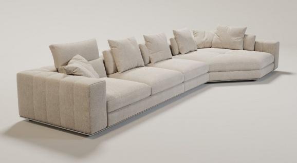 Casa Padrino Luxus Wohnzimmer Sofa mit Kissen Beige / Silber 400 x 130 x H. 56 cm - Luxus Wohnzimmer Möbel