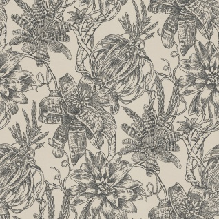 Casa Padrino Luxus Papiertapete Matt Beige / Anthrazit - 10, 05 x 0, 53 m - Tapete mit Blumen Design