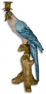 Casa Padrino Jugendstil Kerzenständer mit Papagei Blau / Weiß / Gold 25 x 20, 9 x H. 50, 2 cm - Kerzenhalter