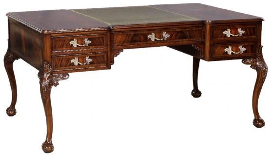 Casa Padrino Luxus Barock Schreibtisch Dunkelbraun / Silber / Grau / Gold - Handgefertigter Mahagoni Schreibtisch mit 5 Schubladen - Barock Büro Möbel